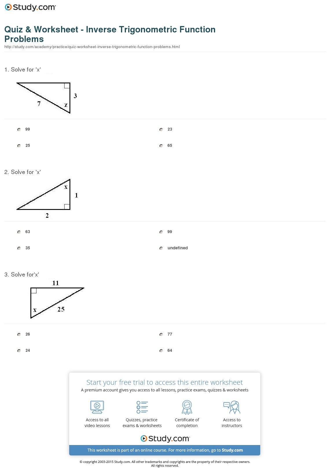Quiz  Worksheet  Inverse Trigonometric Function Problems  Study Or Inverse Trigonometric Ratios Worksheet Answers