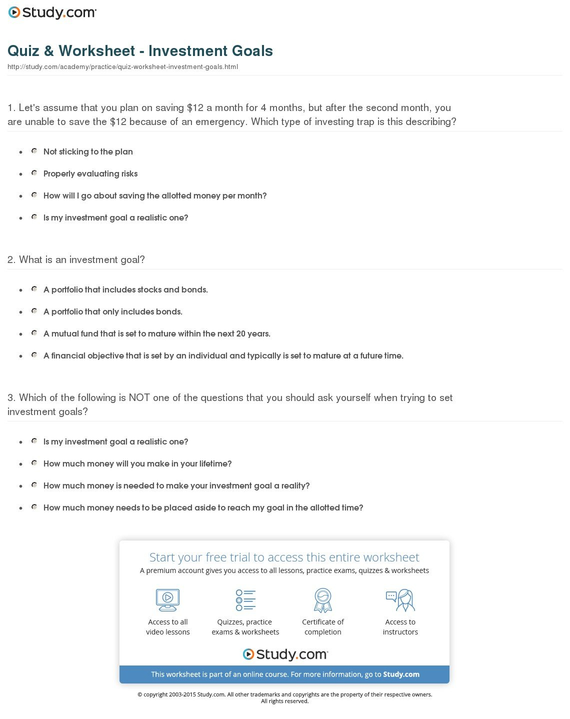 Quiz  Worksheet  Investment Goals  Study For Invest In Yourself Worksheet Answer Key