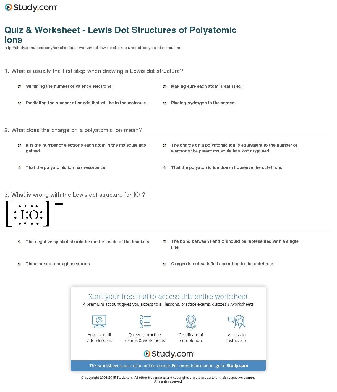 Quiz  Worksheet  Lewis Dot Structures Of Polyatomic Ions  Study Also Lewis Dot Structure Practice Worksheet