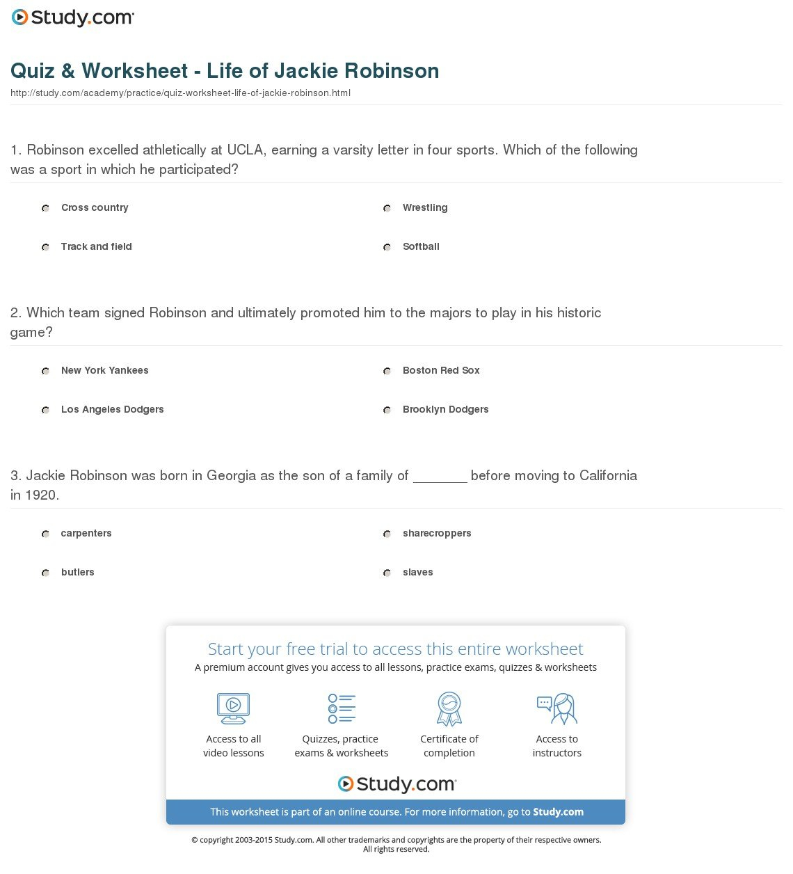 Quiz  Worksheet  Life Of Jackie Robinson  Study Within Jackie Robinson Worksheets 5Th Grade