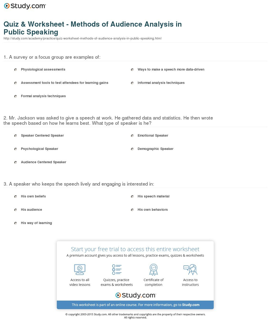 Quiz  Worksheet  Methods Of Audience Analysis In Public Speaking As Well As Audience Analysis Worksheet Example