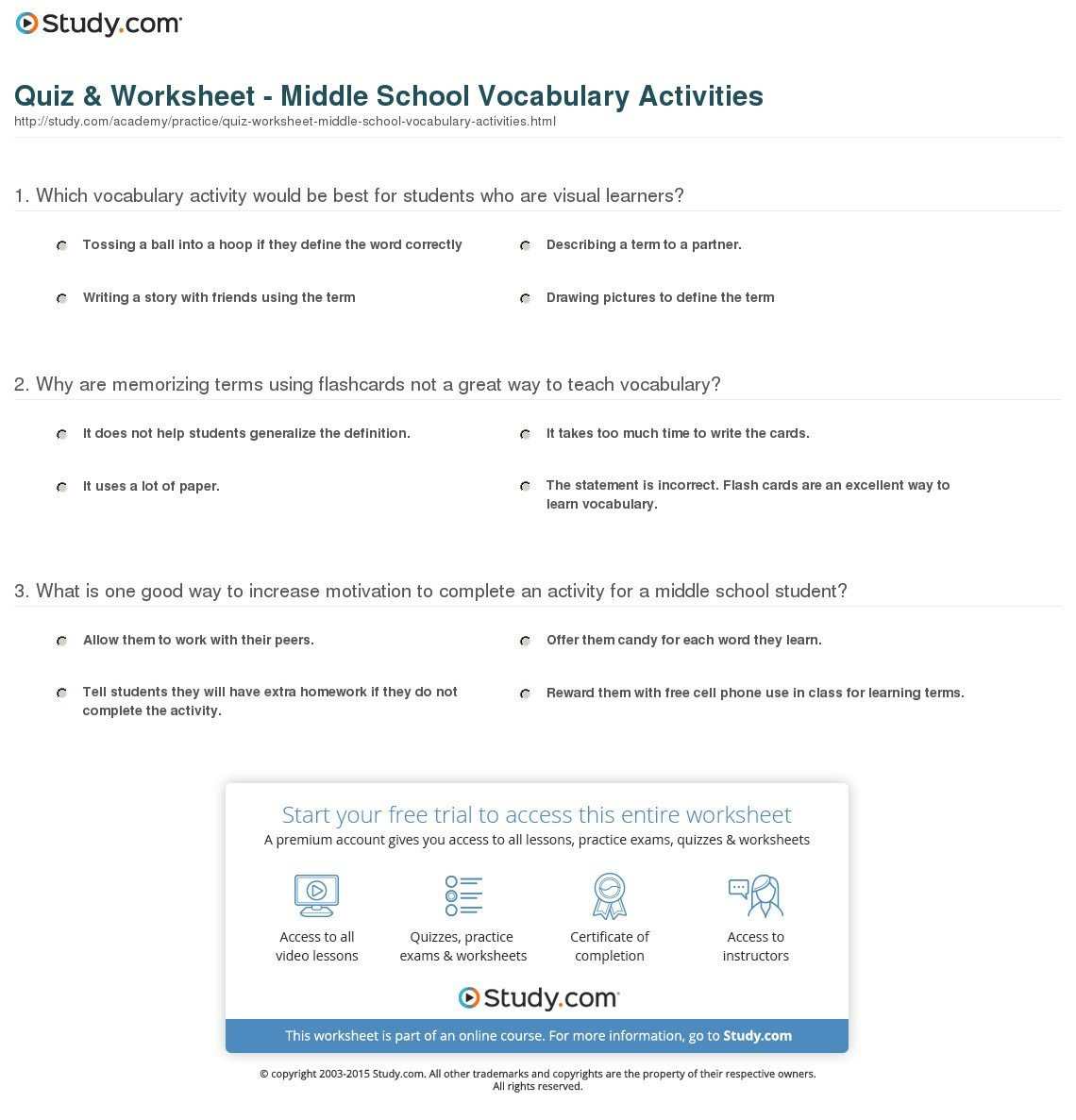 Quiz  Worksheet  Middle School Vocabulary Activities  Study With Free Printable Character Education Worksheets Middle School
