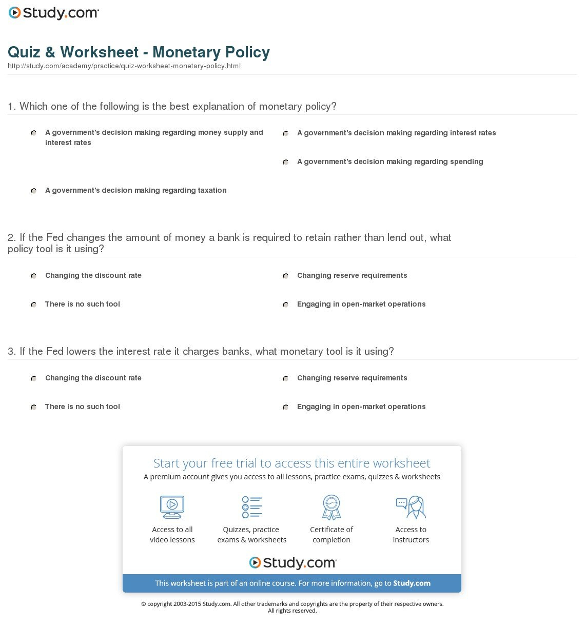 Quiz  Worksheet  Monetary Policy  Study As Well As Monetary Policy Worksheet Answers