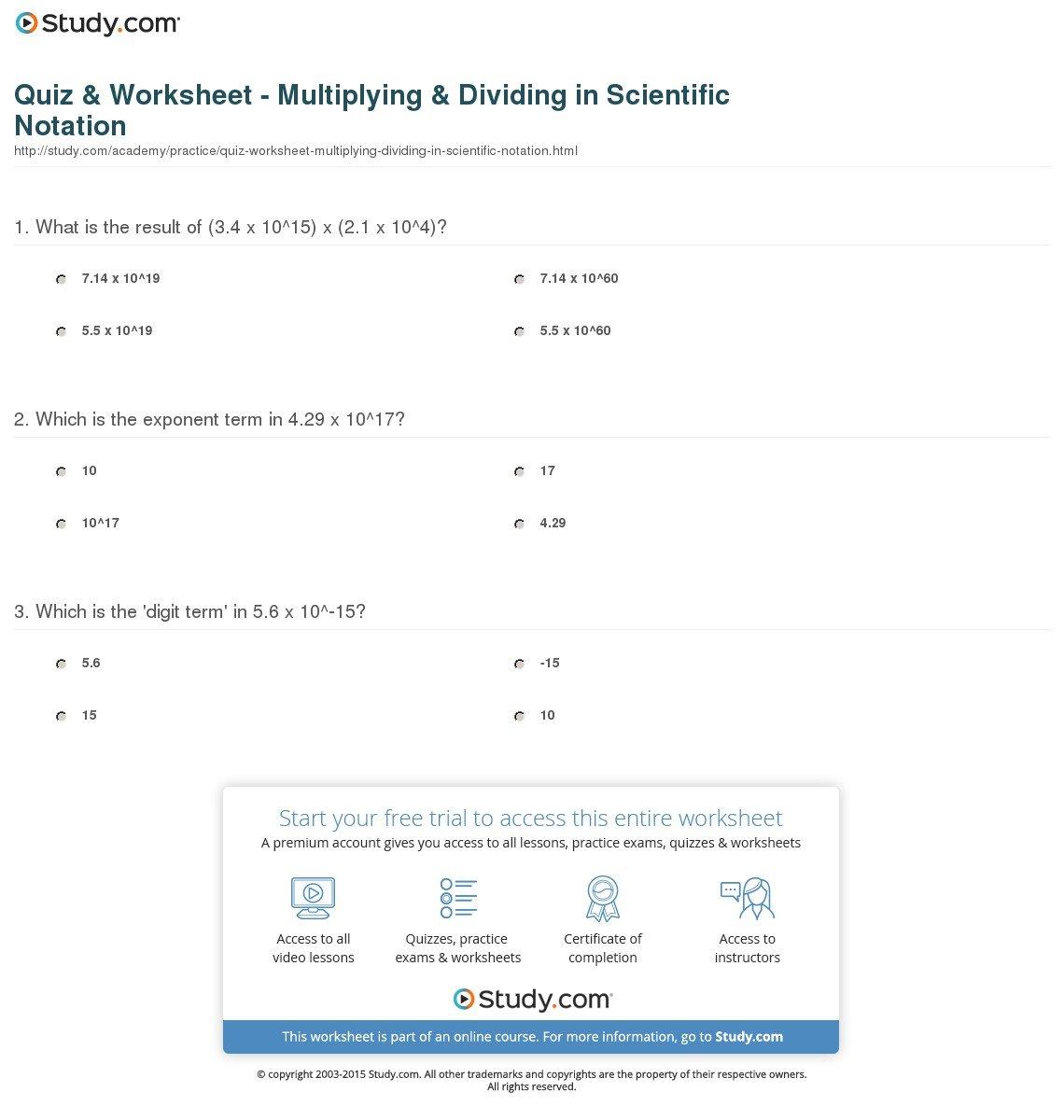 Quiz  Worksheet  Multiplying  Dividing In Scientific Notation Also Operations In Scientific Notation Worksheet