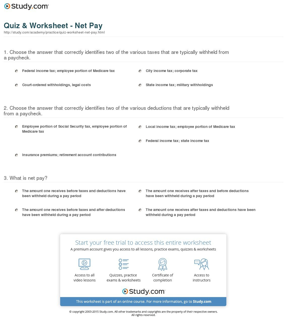 Quiz  Worksheet  Net Pay  Study Intended For Calculating Your Paycheck Salary Worksheet 1 Answers