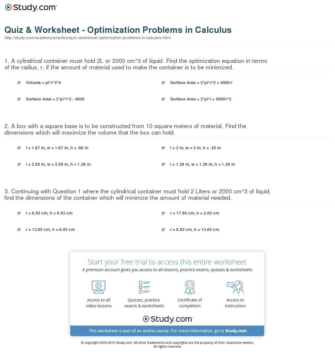 Optimization Problems Calculus Worksheet — excelguider.com
