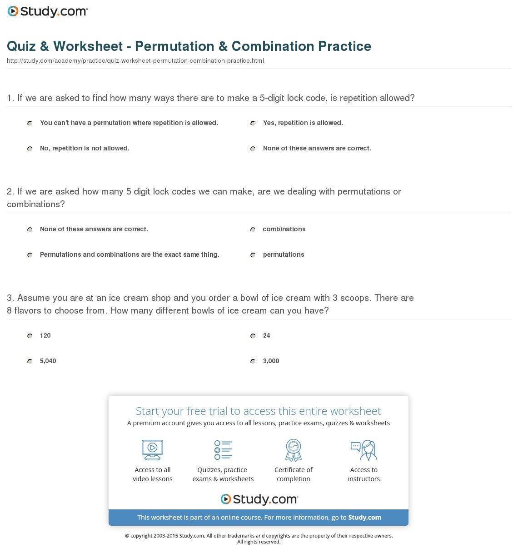 Quiz  Worksheet  Permutation  Combination Practice  Study Regarding Permutations And Combinations Worksheet Answer Key