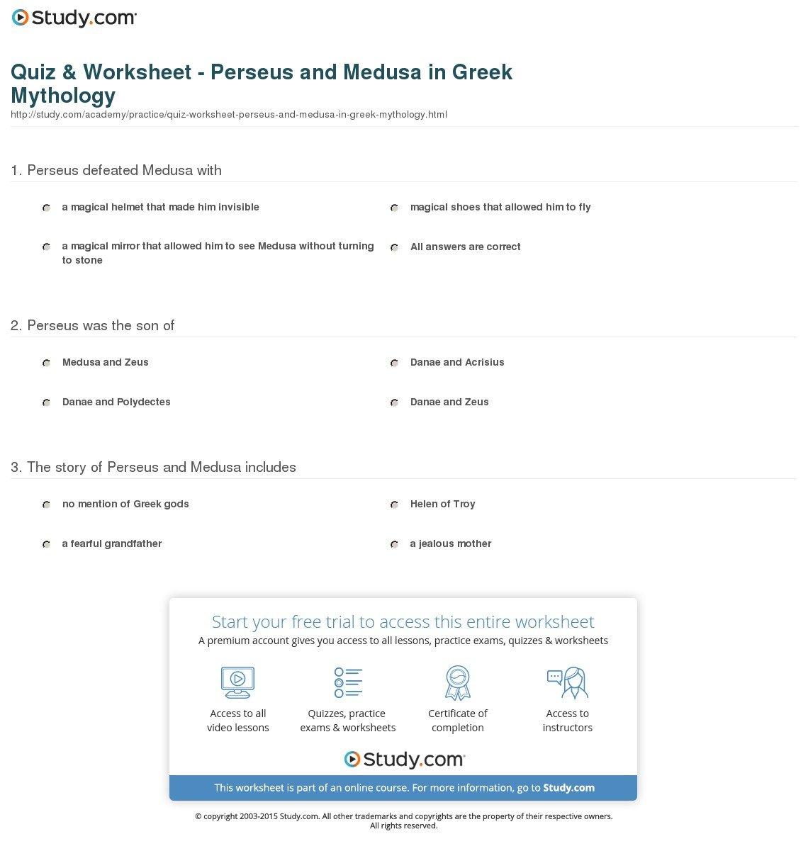 Quiz  Worksheet  Perseus And Medusa In Greek Mythology  Study Regarding Greek Mythology Worksheets Pdf