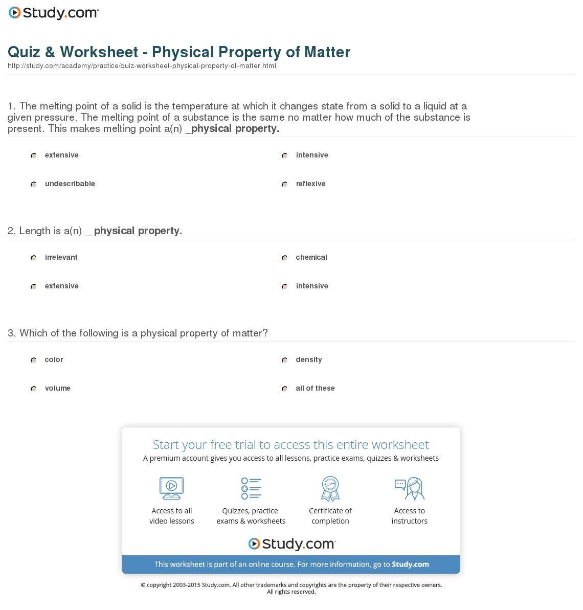 Quiz  Worksheet  Physical Property Of Matter  Study Or Properties Of Matter Worksheet Answers