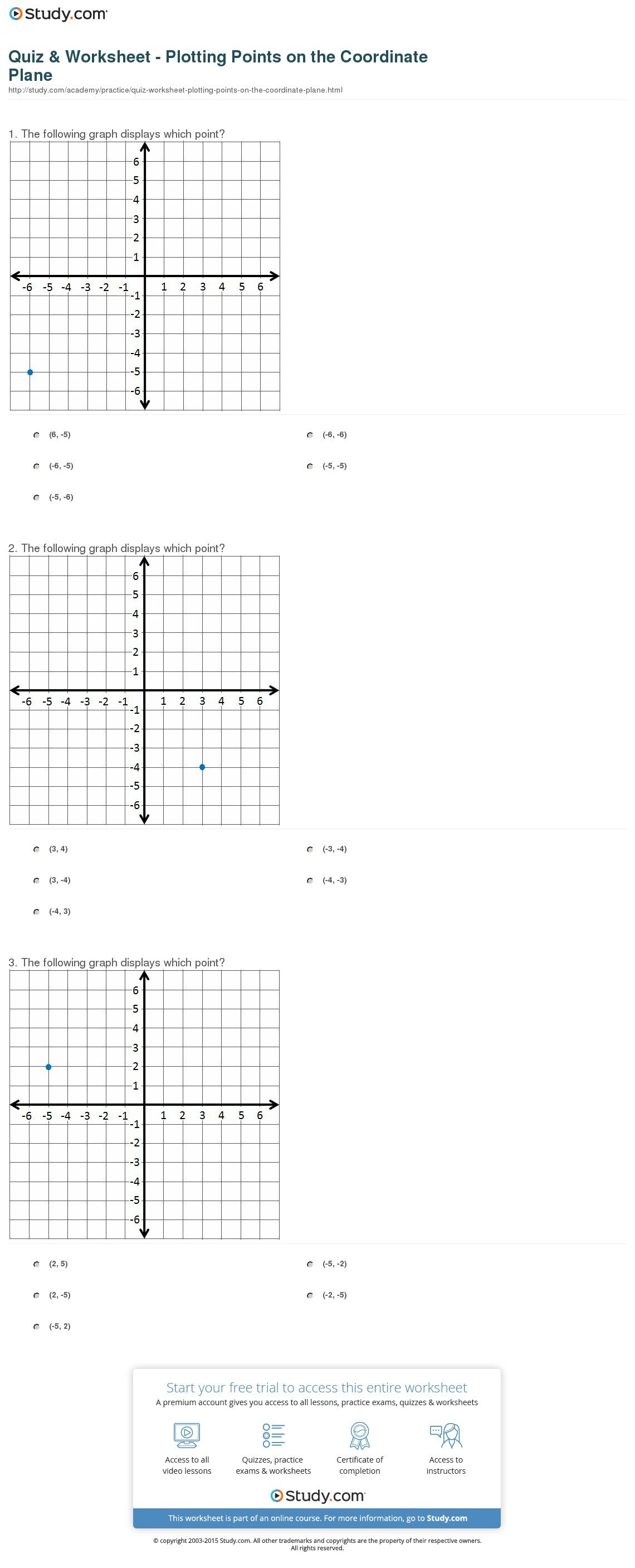 Quiz  Worksheet  Plotting Points On The Coordinate Plane  Study Within Plotting Points On A Graph Worksheet