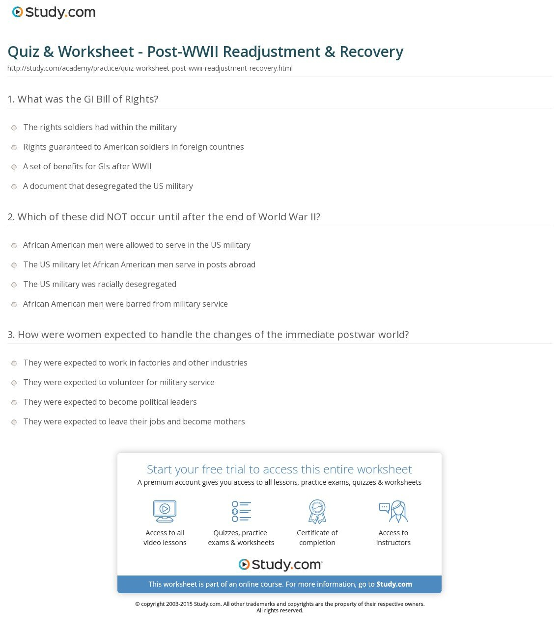 Quiz  Worksheet  Postwwii Readjustment  Recovery  Study Inside Acceptance In Recovery Worksheets