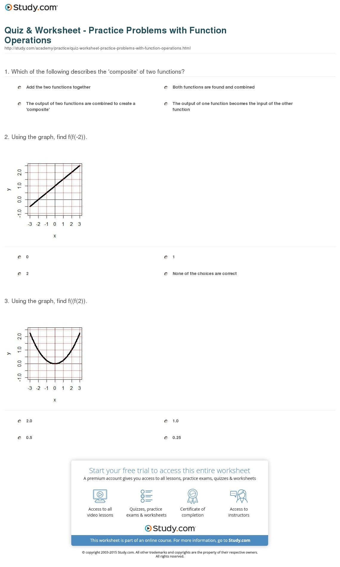 Quiz  Worksheet  Practice Problems With Function Operations With Regard To Algebra 3 Rational Functions Worksheet 1 Answer Key