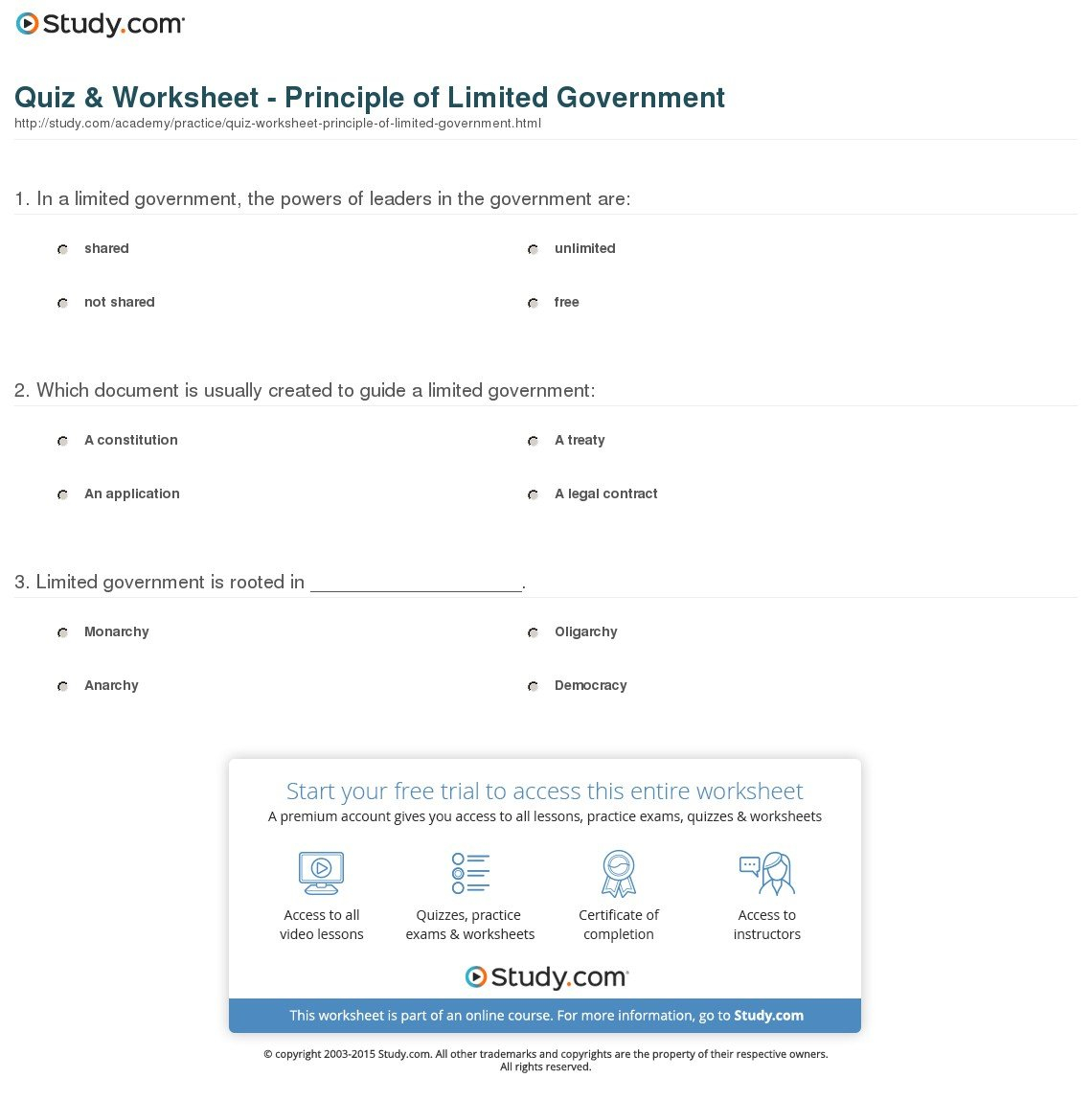 Quiz  Worksheet  Principle Of Limited Government  Study Within Limiting Government Icivics Worksheet Answer Key