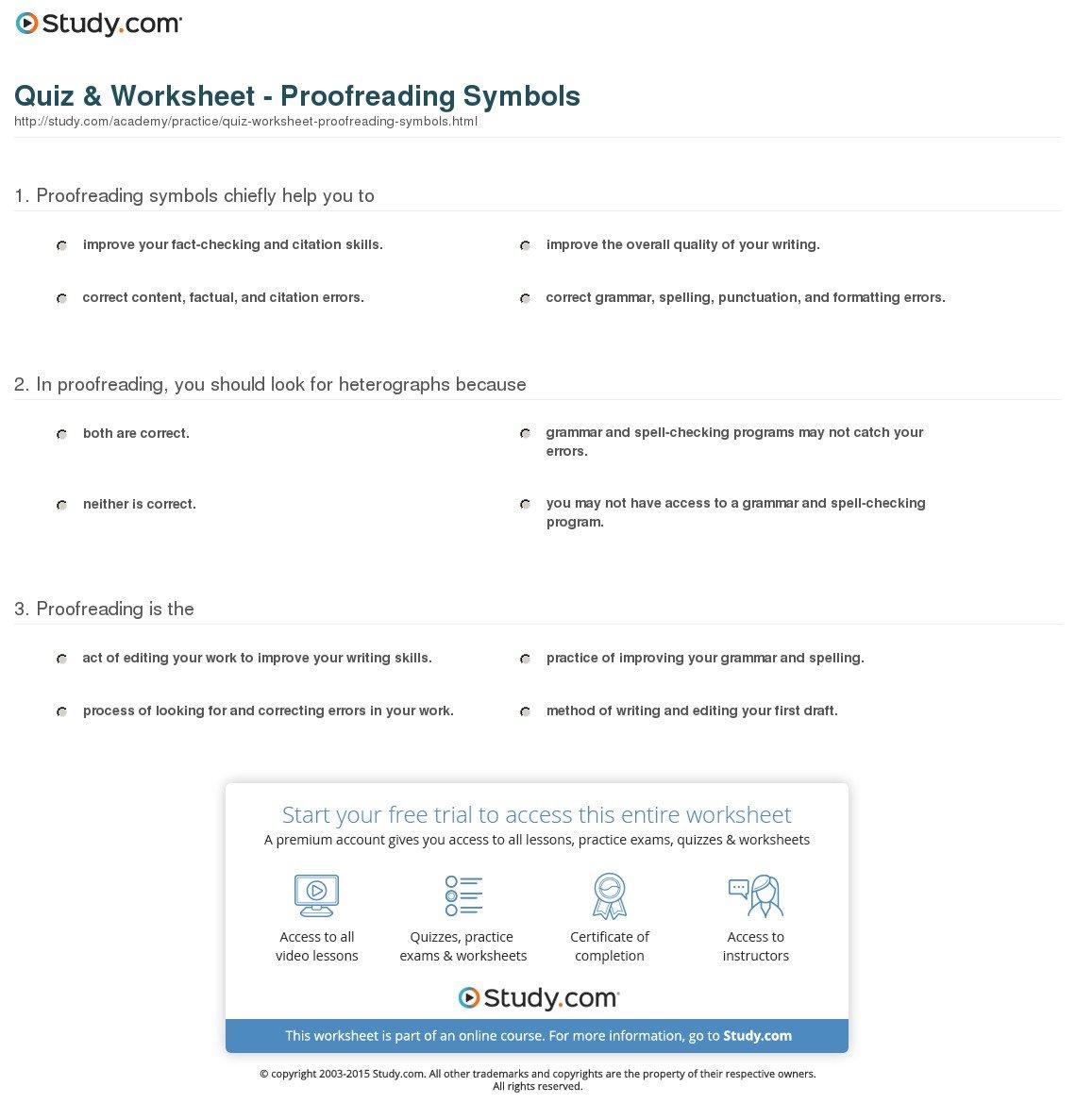 Quiz  Worksheet  Proofreading Symbols  Study With Regard To Proofreading And Editing Worksheets Grade 6