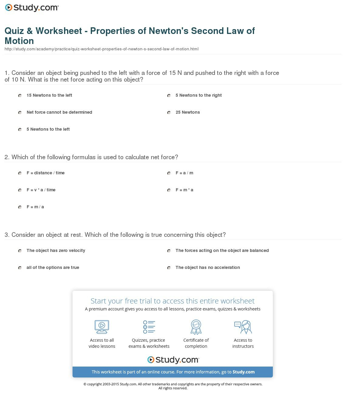 Quiz  Worksheet  Properties Of Newton's Second Law Of Motion In Net Force And Acceleration Worksheet Answers