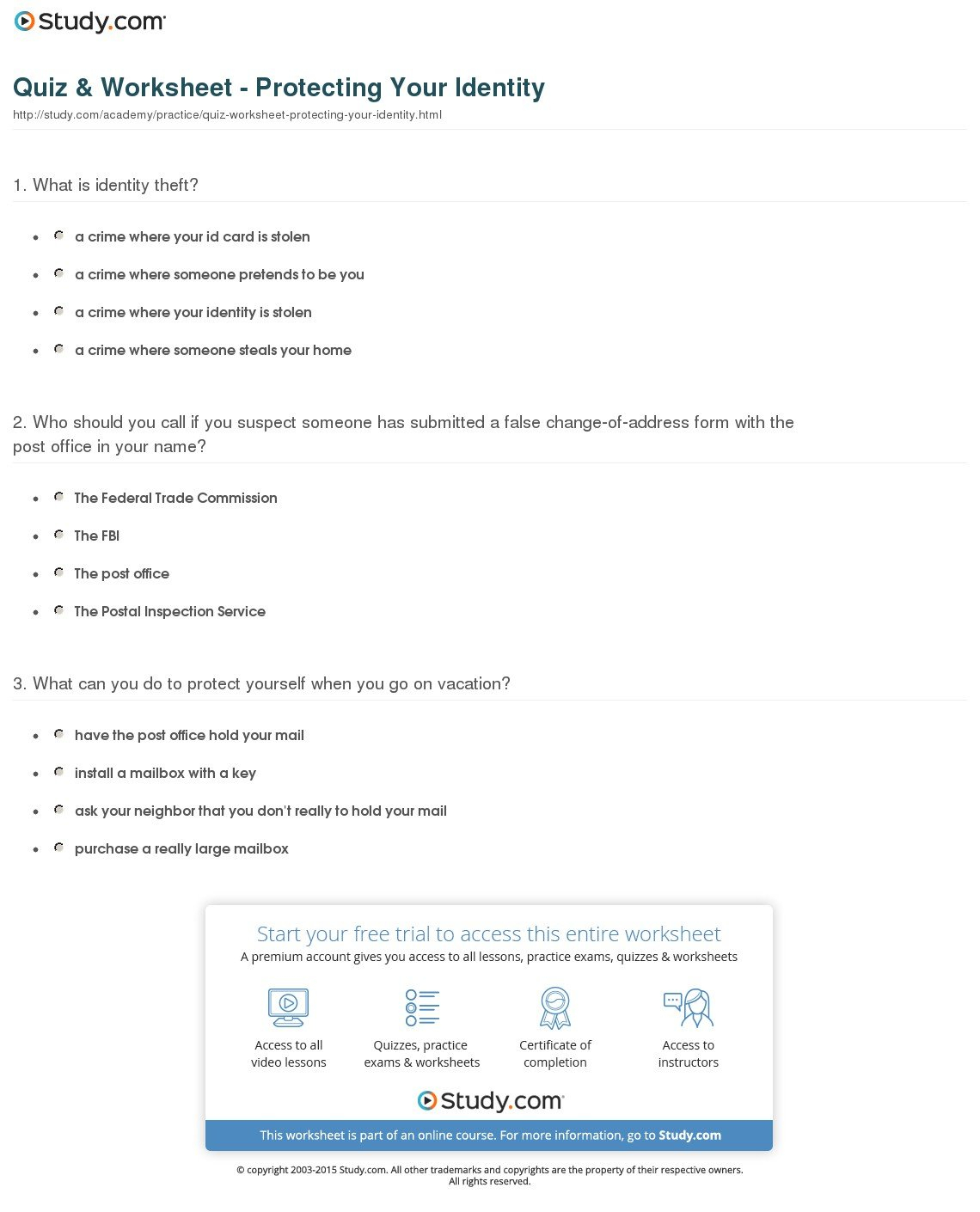 Quiz  Worksheet  Protecting Your Identity  Study Throughout Identity Theft Worksheet Answers
