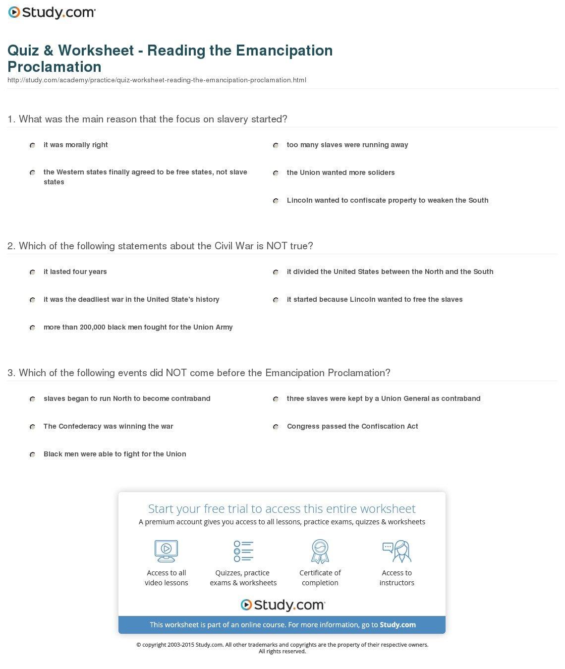 Quiz  Worksheet  Reading The Emancipation Proclamation  Study Together With Emancipation Proclamation Worksheet Answers
