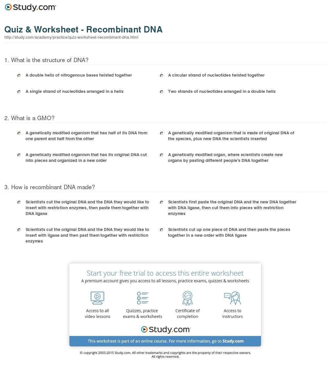 Quiz  Worksheet  Recombinant Dna  Study Within Dna Structure Quiz Worksheet