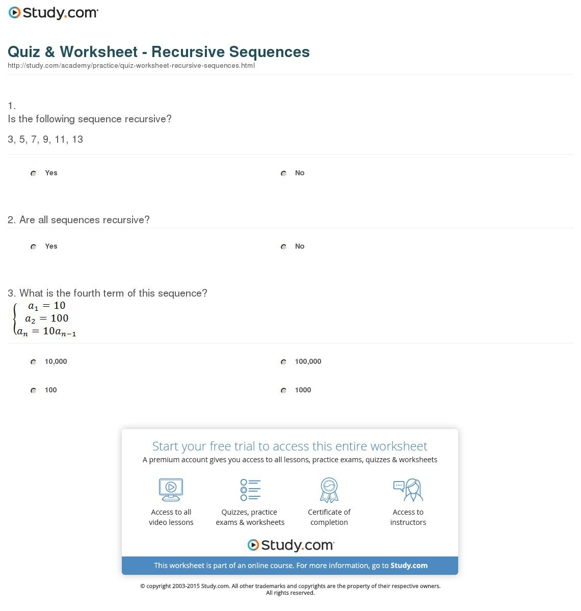 Quiz  Worksheet  Recursive Sequences  Study Throughout Sequences Worksheet Answers