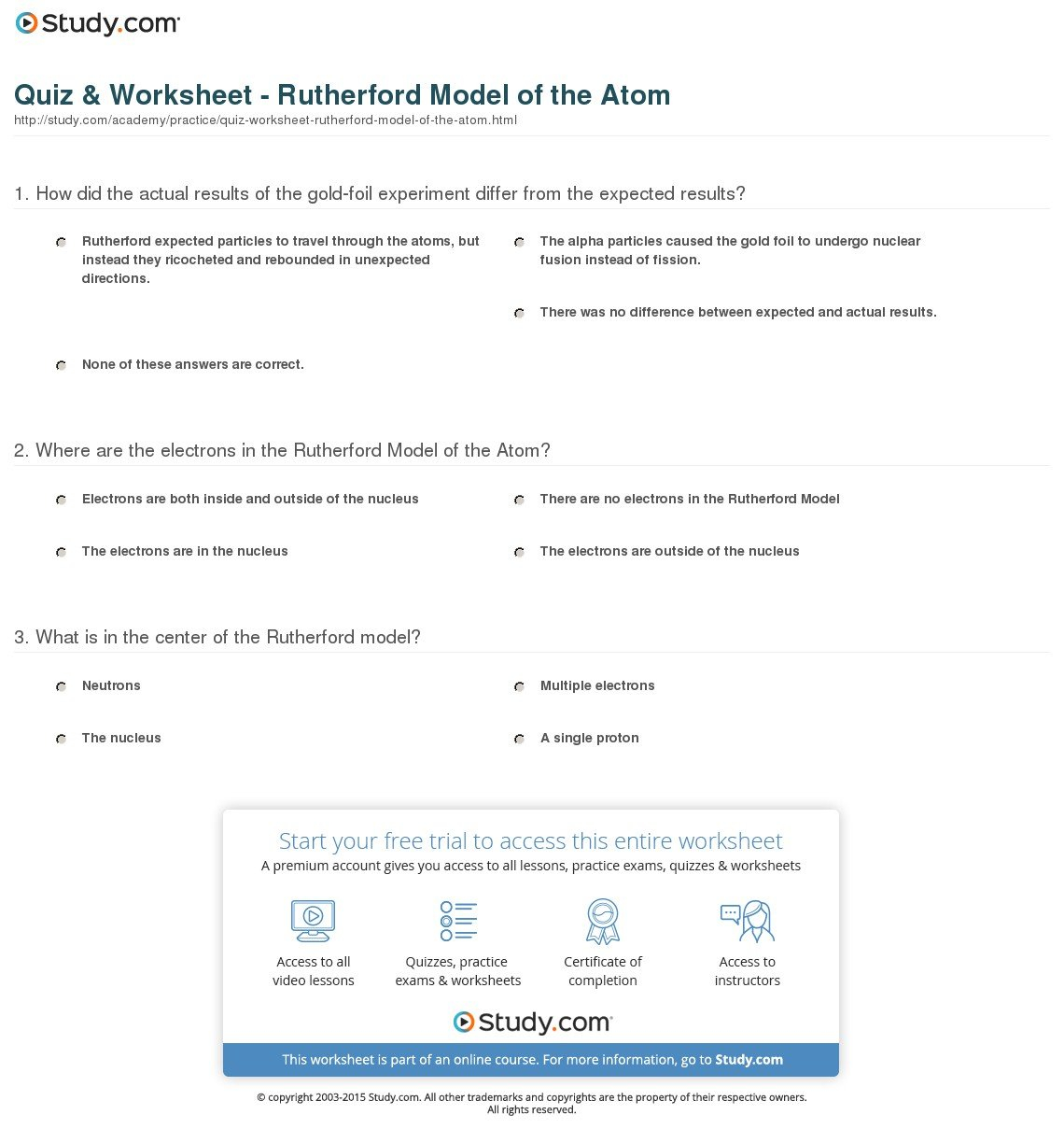Quiz  Worksheet  Rutherford Model Of The Atom  Study Or Models Of The Atom Worksheet
