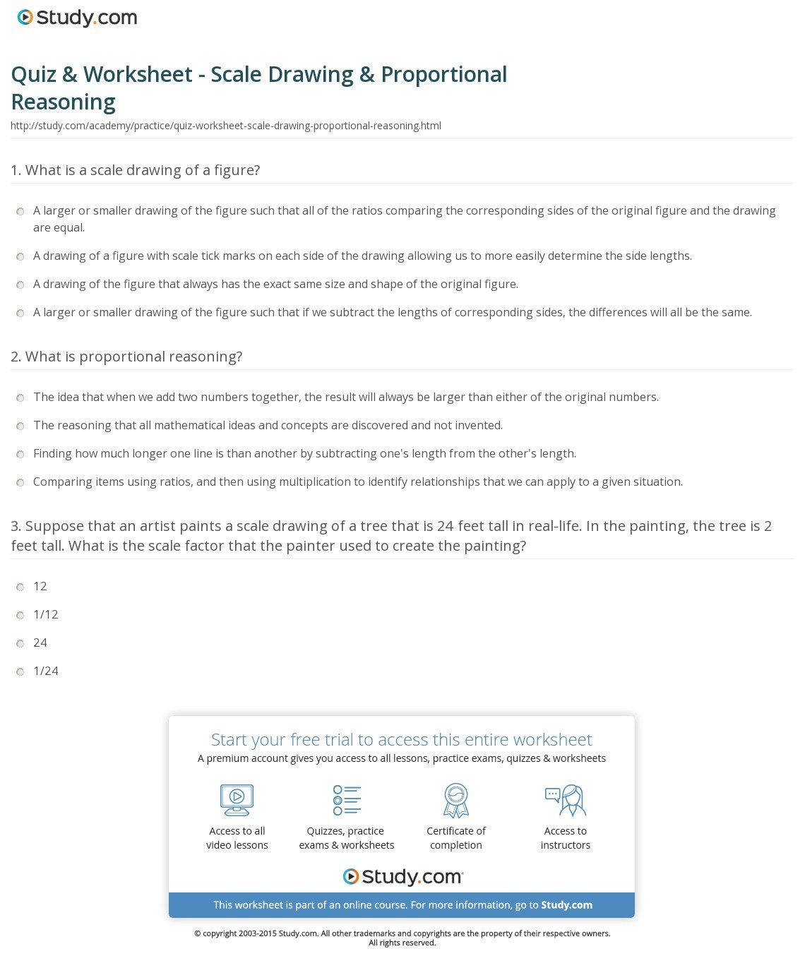 Quiz  Worksheet  Scale Drawing  Proportional Reasoning  Study With Proportional Reasoning Worksheets 7Th Grade