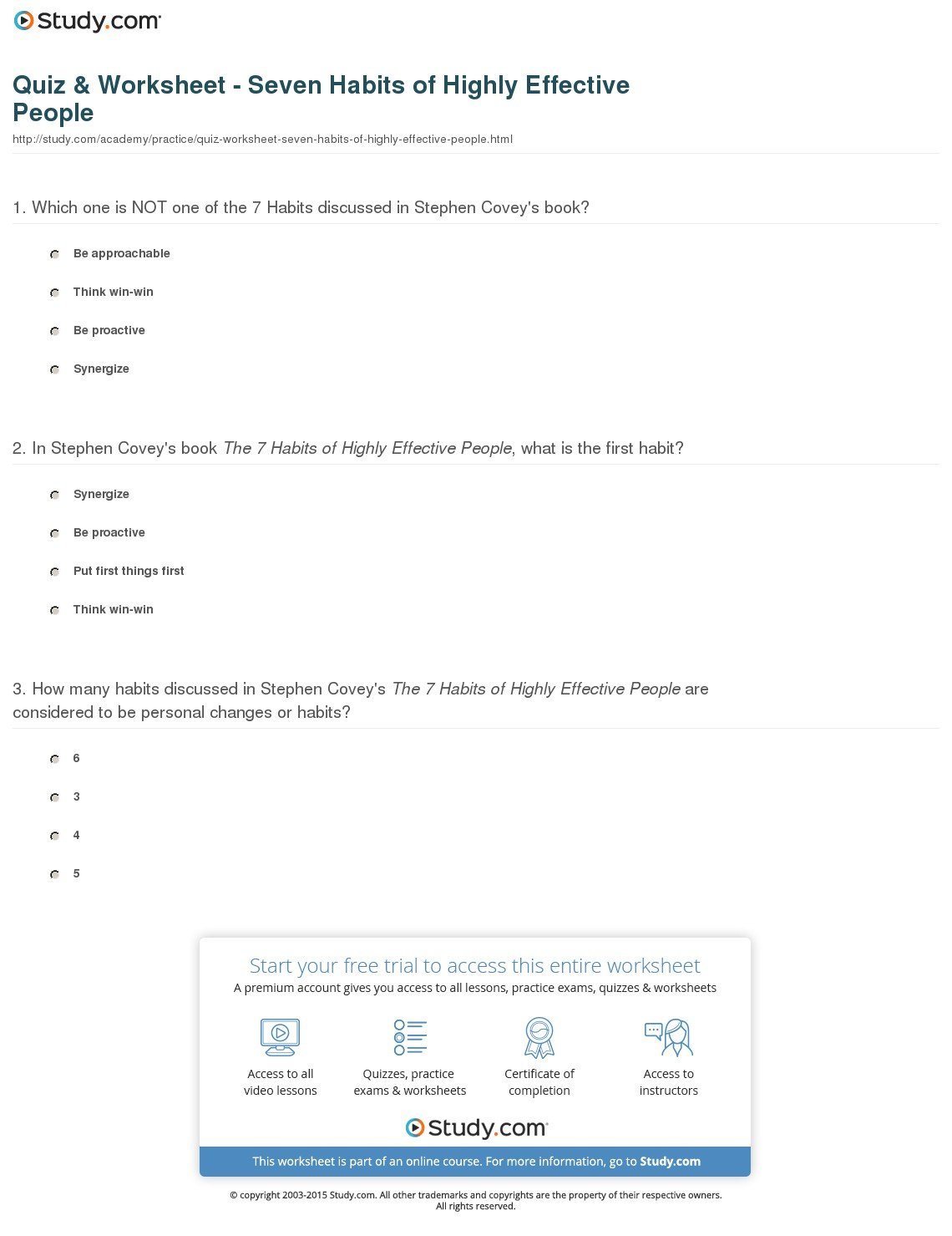 Quiz  Worksheet  Seven Habits Of Highly Effective People  Study Intended For Habit 6 Synergize Worksheet Answers