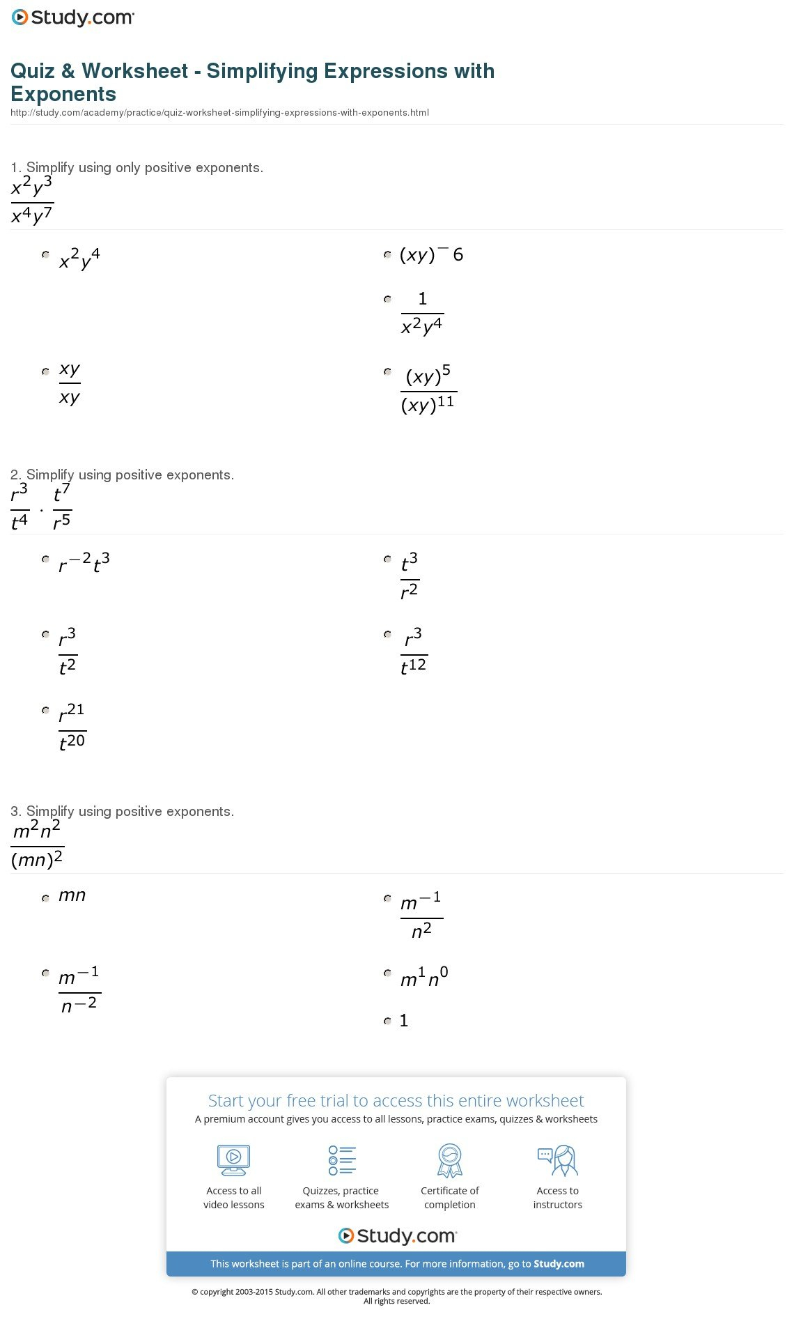 Quiz  Worksheet  Simplifying Expressions With Exponents  Study As Well As Simplifying Expressions Worksheet With Answers