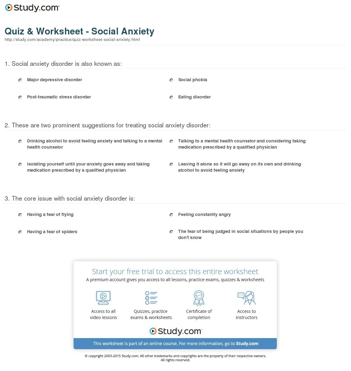 Quiz  Worksheet  Social Anxiety  Study Intended For Eating Disorder Treatment Worksheets