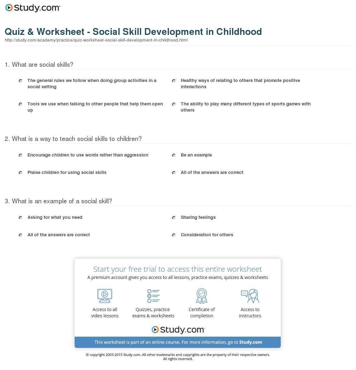 Quiz  Worksheet  Social Skill Development In Childhood  Study For Social Skills Worksheets For Middle School