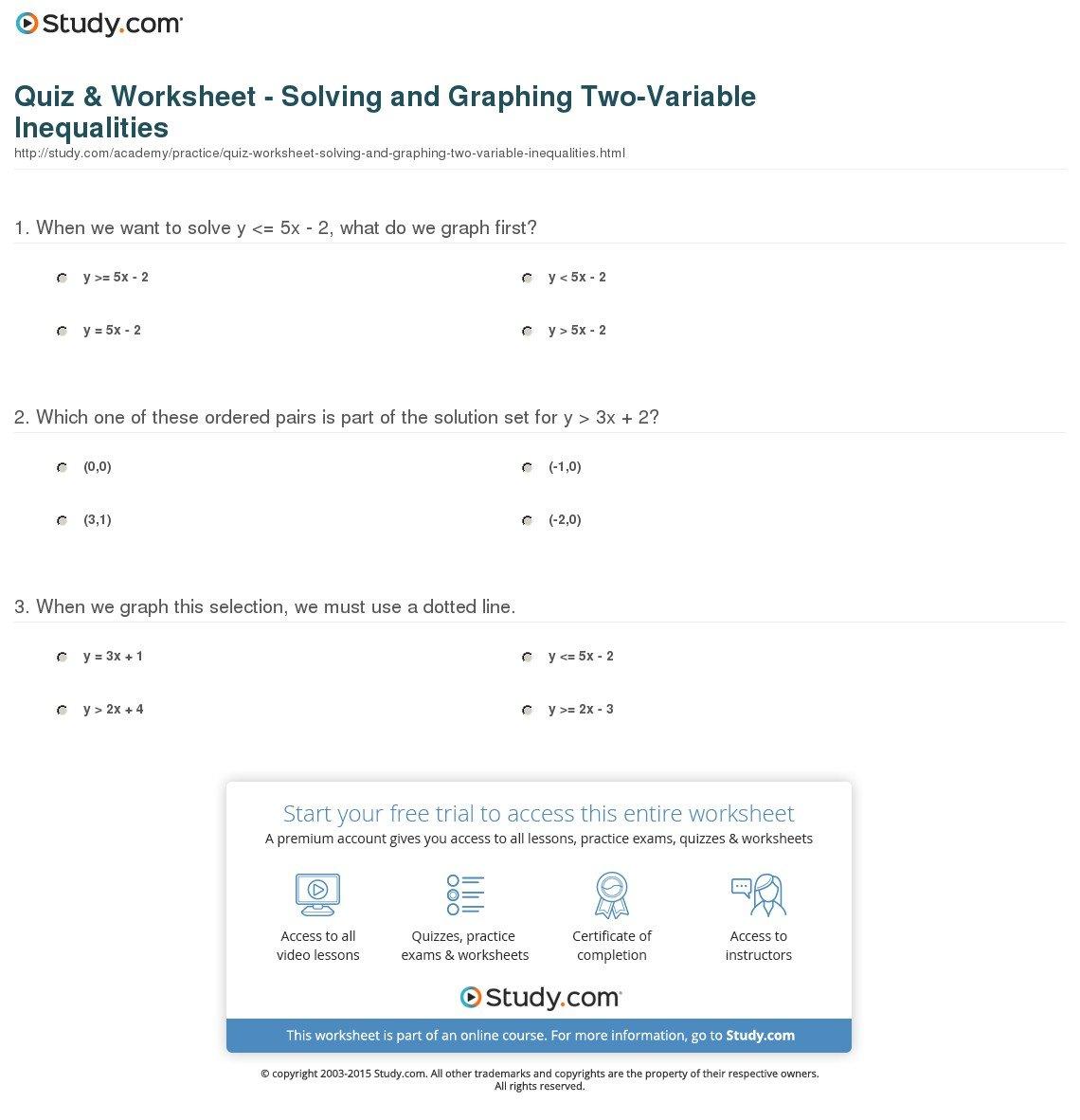 Quiz  Worksheet  Solving And Graphing Twovariable Inequalities For Algebra Inequalities Worksheet