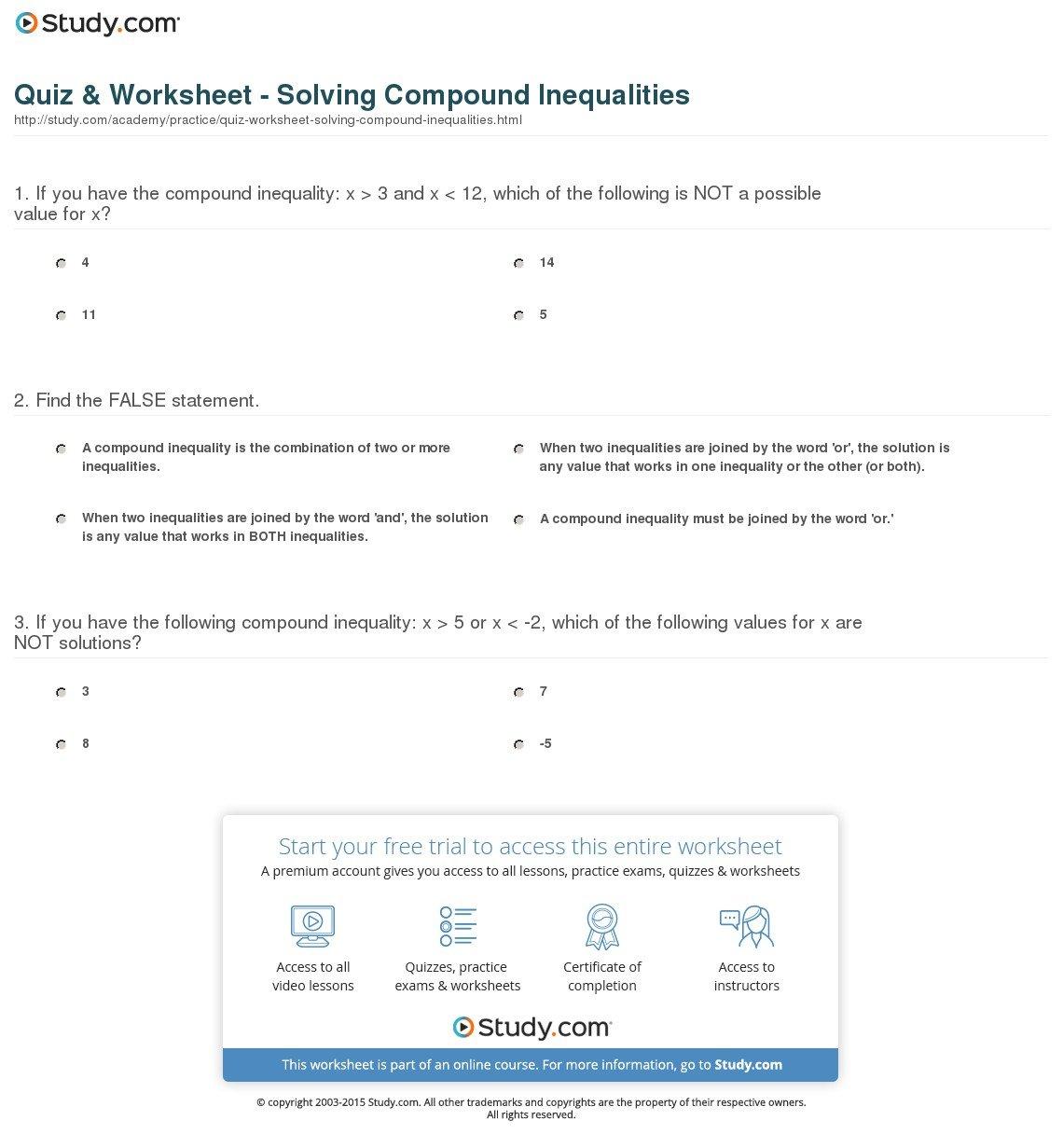 Quiz  Worksheet  Solving Compound Inequalities  Study Within Compound Inequalities Worksheet Answers