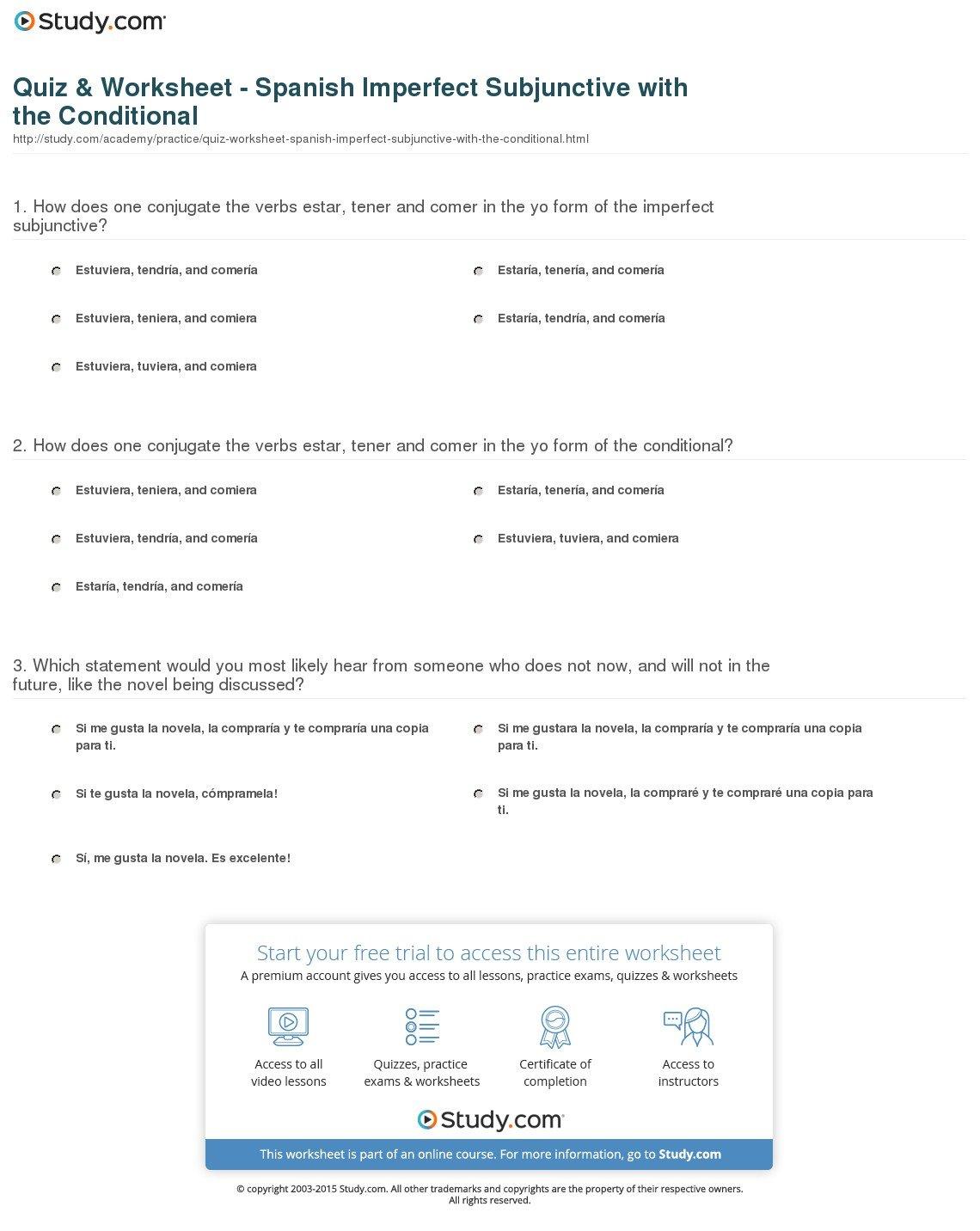 Quiz  Worksheet  Spanish Imperfect Subjunctive With The Inside Spanish Present Subjunctive Worksheet Pdf