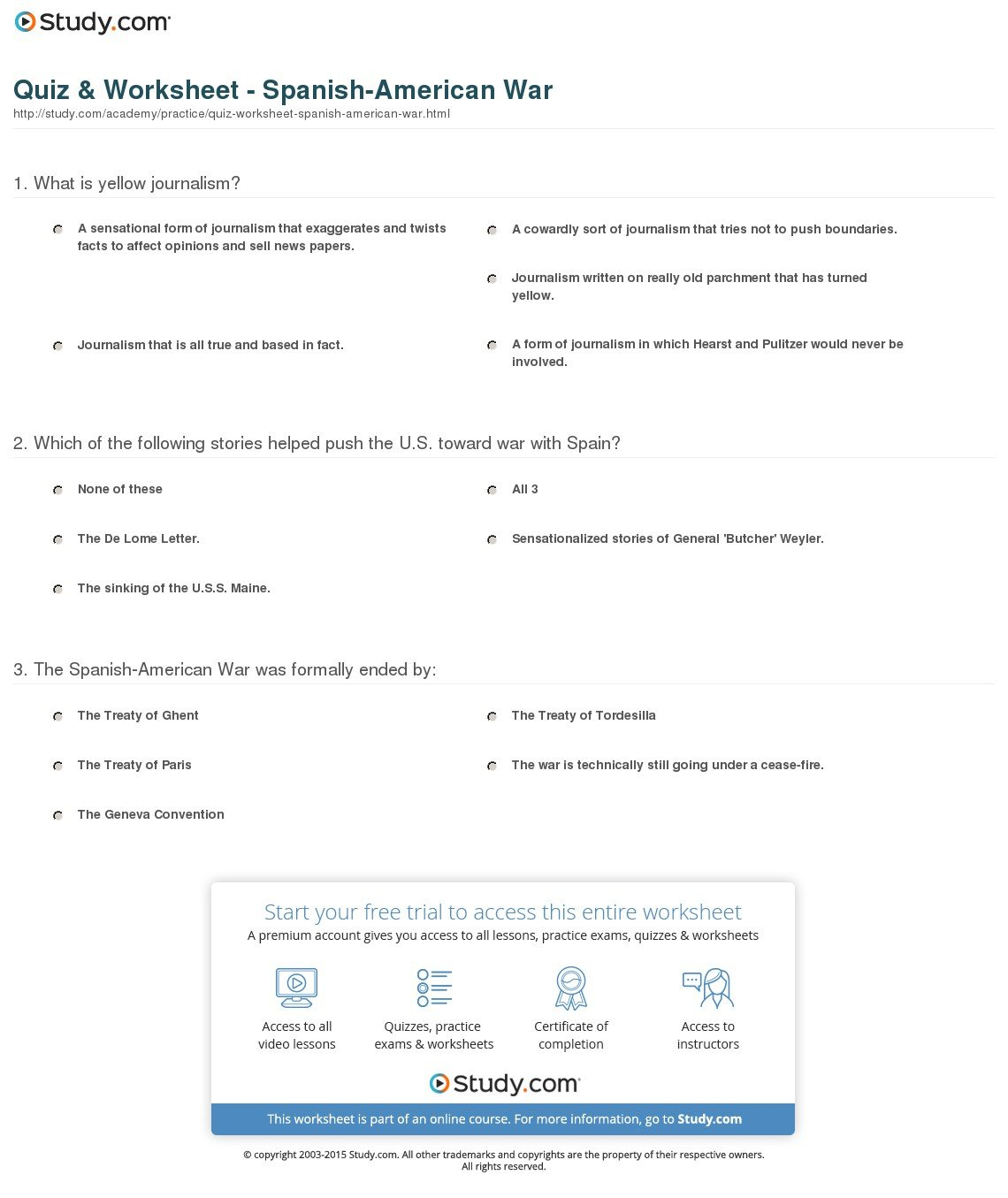 Quiz  Worksheet  Spanishamerican War  Study Pertaining To Spanish American War Worksheet Answers