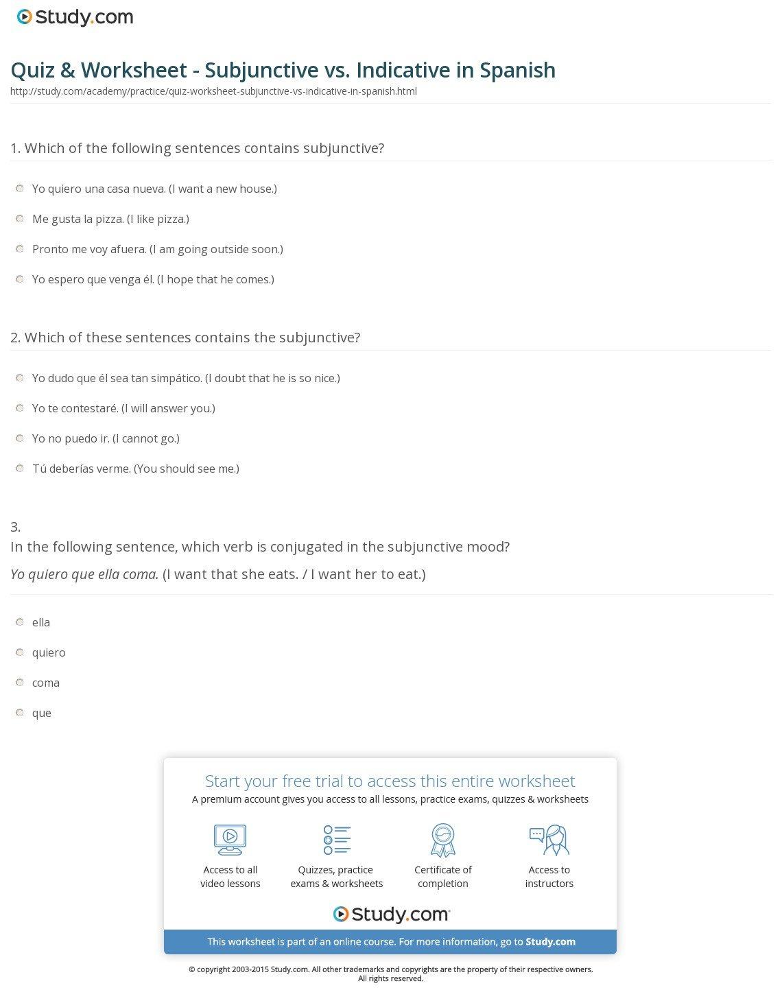 Quiz  Worksheet  Subjunctive Vs Indicative In Spanish  Study Along With Spanish Present Subjunctive Worksheet Pdf