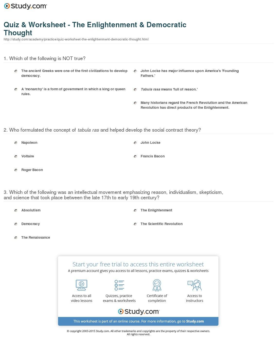 Quiz  Worksheet  The Enlightenment  Democratic Thought  Study In The Enlightenment Worksheet Answers