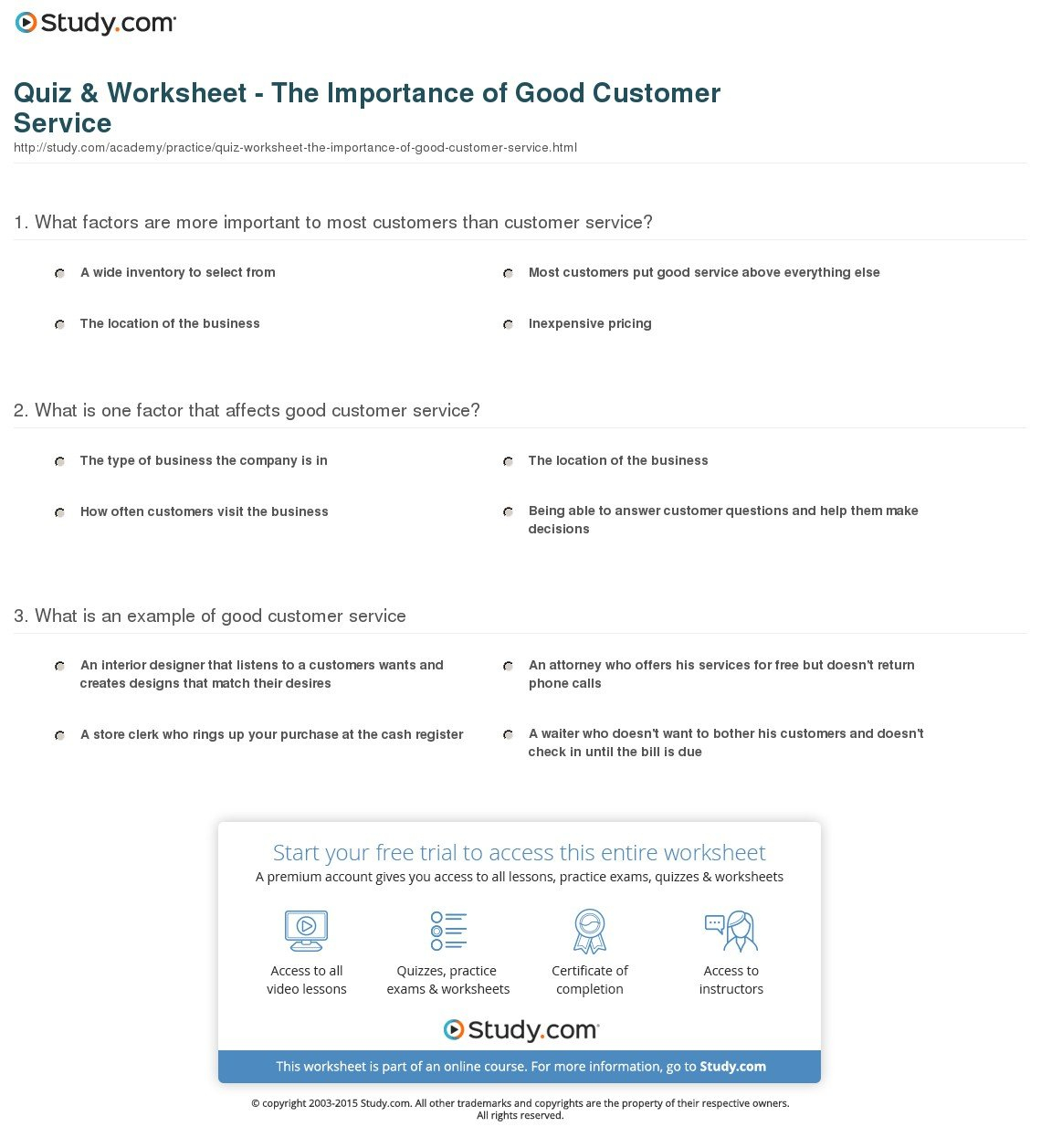 Quiz  Worksheet  The Importance Of Good Customer Service  Study Pertaining To Customer Service Activity Worksheet