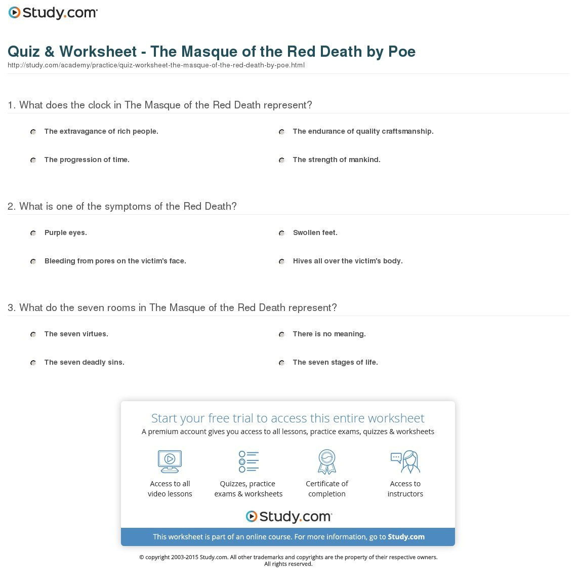 Quiz  Worksheet  The Masque Of The Red Deathpoe  Study In Masque Of The Red Death Symbolism Worksheet Answers