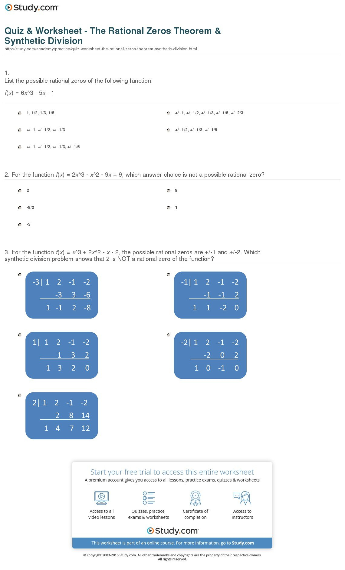 Quiz  Worksheet  The Rational Zeros Theorem  Synthetic Division Intended For Synthetic Division Worksheet With Answers