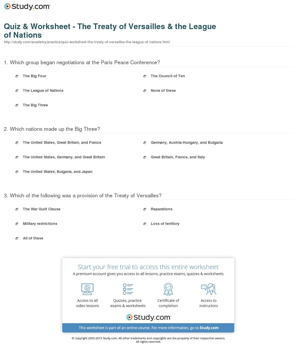 Quiz  Worksheet  The Treaty Of Versailles  The League Of Nations For The Treaty Of Versailles Worksheet Answers
