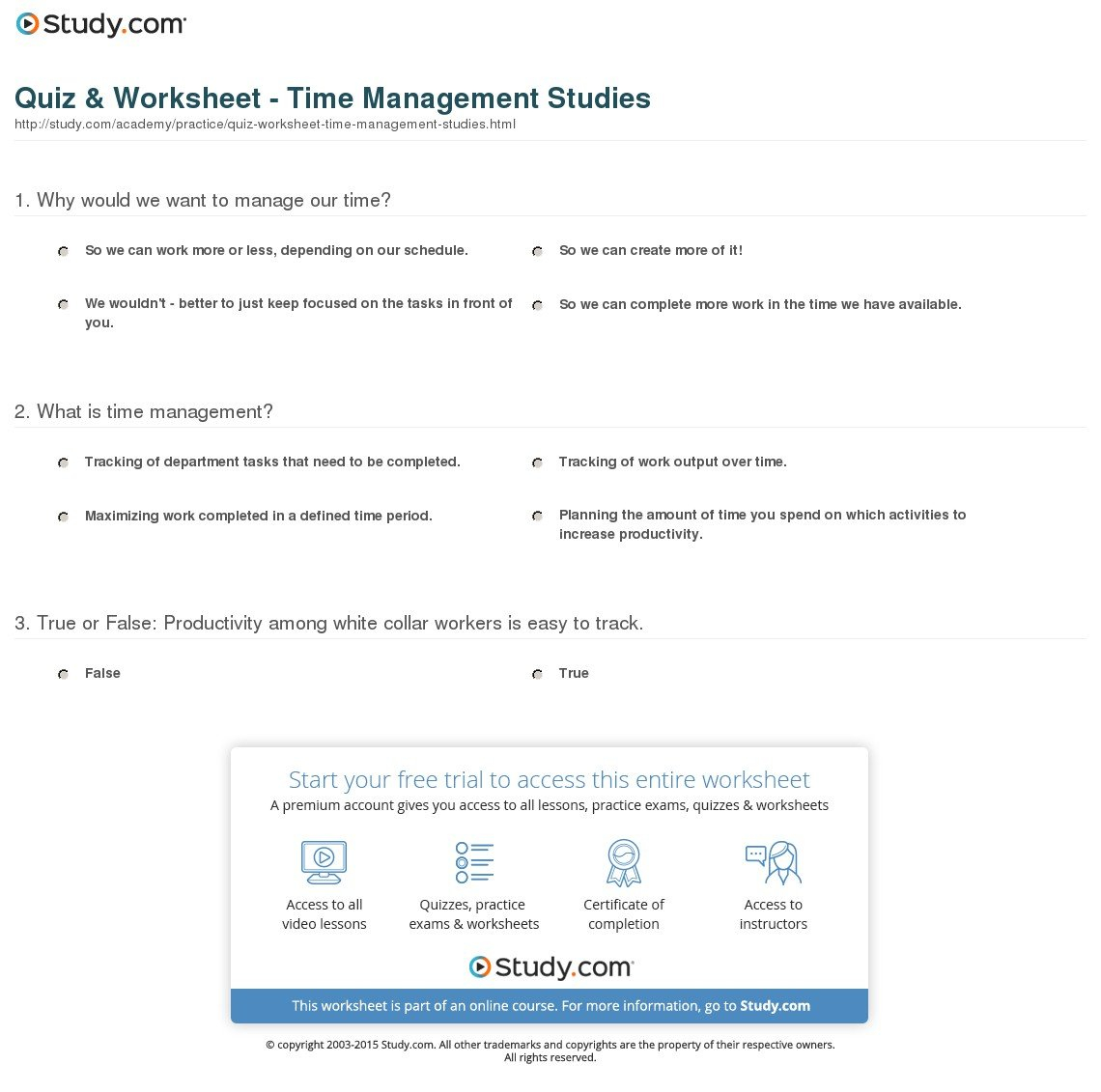 Quiz  Worksheet  Time Management Studies  Study With Regard To Time Management Worksheet