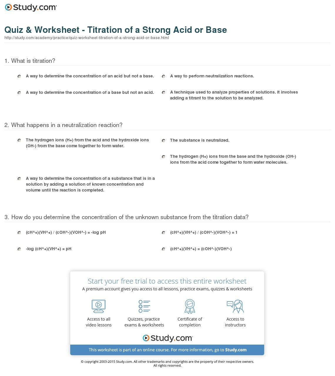 Quiz  Worksheet  Titration Of A Strong Acid Or Base  Study Or Acids And Bases Worksheet Middle School