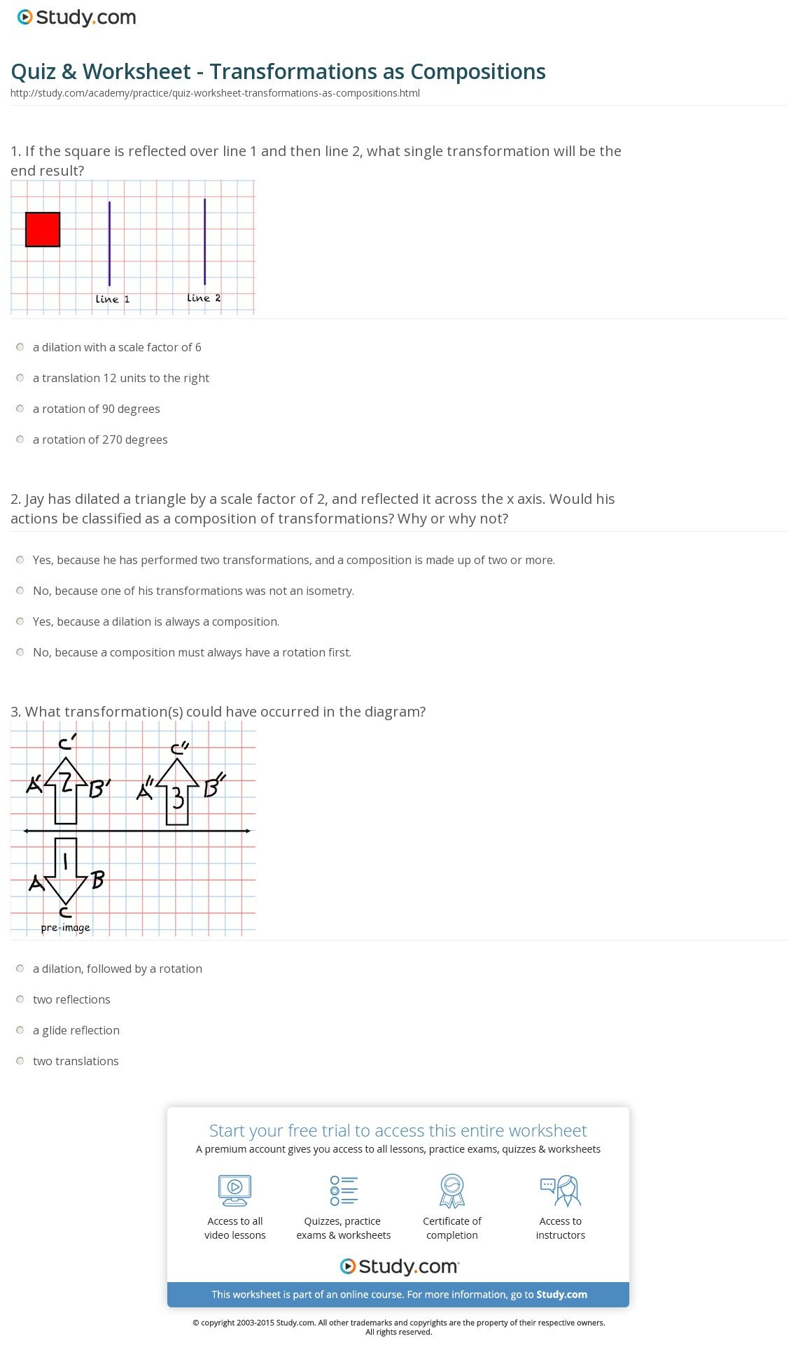 Quiz  Worksheet  Transformations As Compositions  Study With Regard To Geometry Transformation Composition Worksheet
