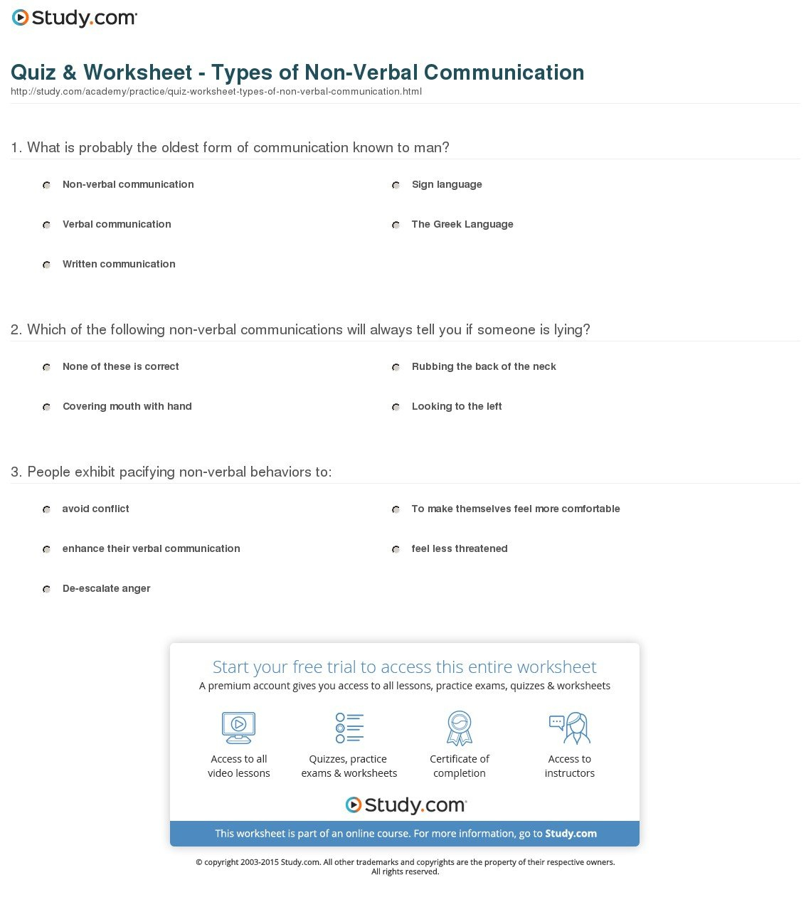 Quiz  Worksheet  Types Of Nonverbal Communication  Study Throughout Nonverbal Communication Worksheet Answers
