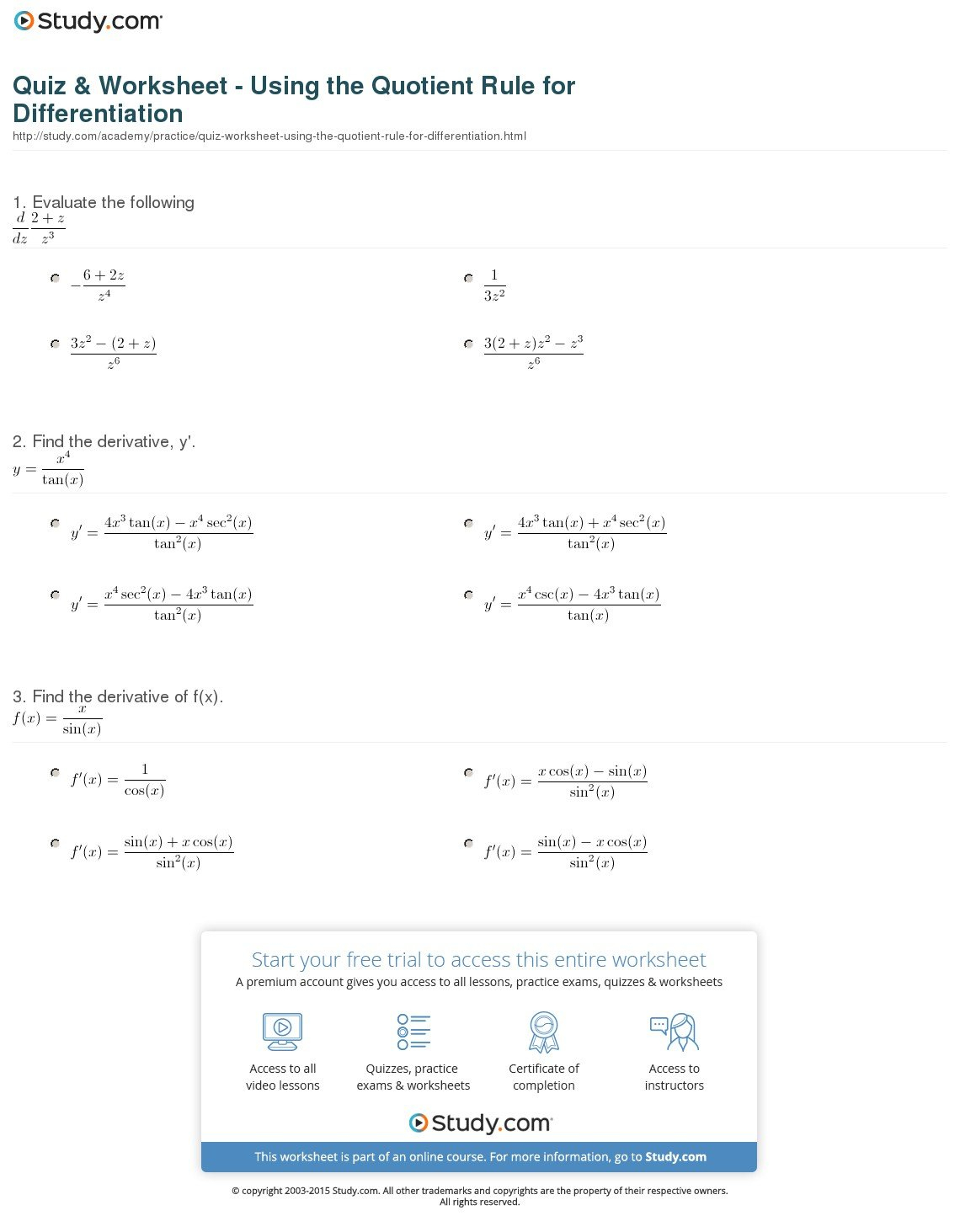 Quiz  Worksheet  Using The Quotient Rule For Differentiation Along With Product And Quotient Rule Worksheet With Answers