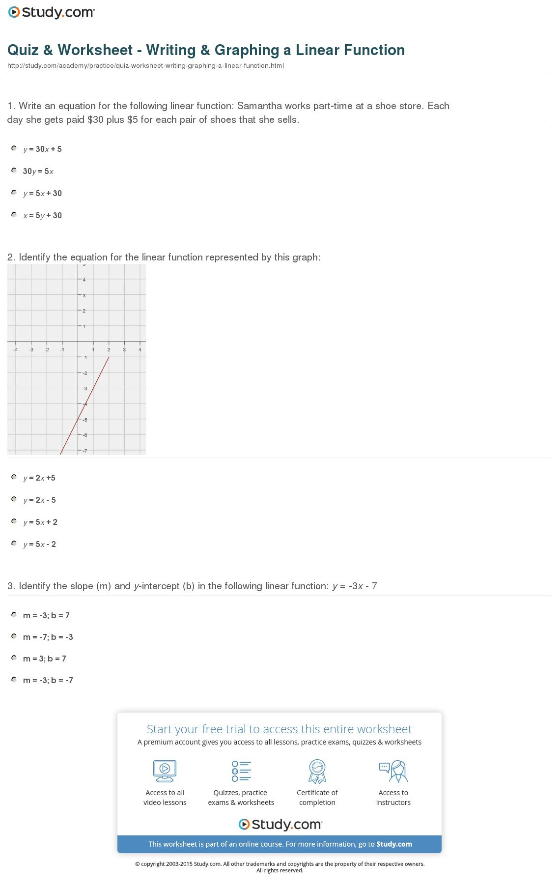 Quiz  Worksheet  Writing  Graphing A Linear Function  Study For Graphing Linear Functions Worksheet