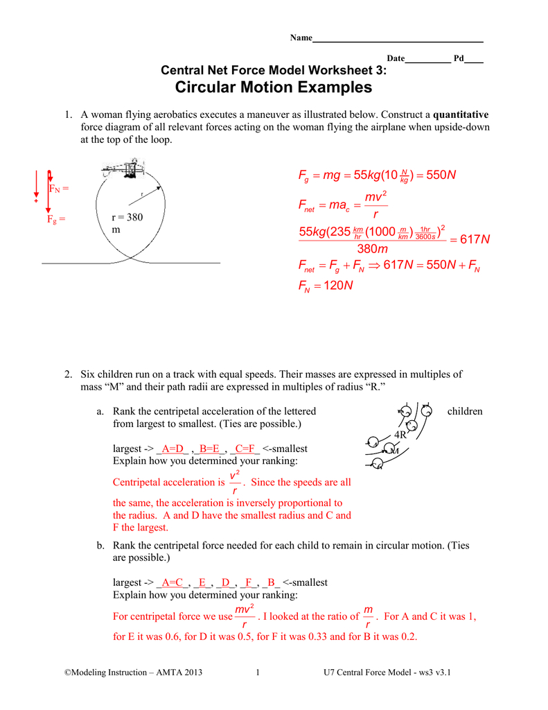 Radial Net Force Wkst 3 As Well As Centripetal Force Worksheet With Answers