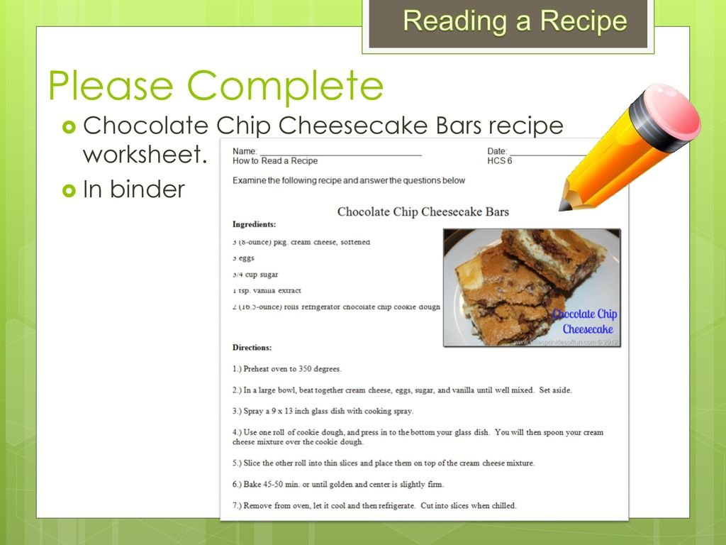 Reading A Recipe Reading A Recipe Home  Careers 6 Mrs Hayes  Ppt Throughout Reading A Recipe Worksheet
