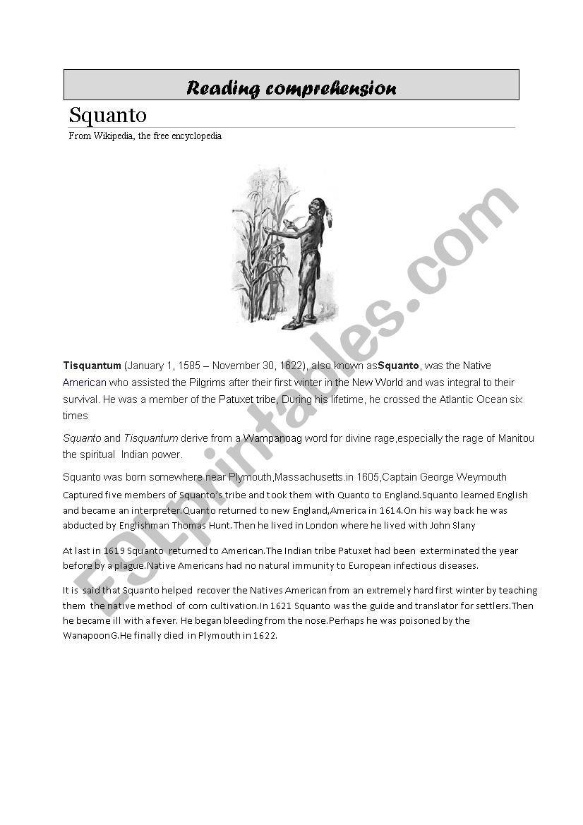Reading Comprehension  Esl Worksheetloic Together With Pilgrims Reading Comprehension Worksheet