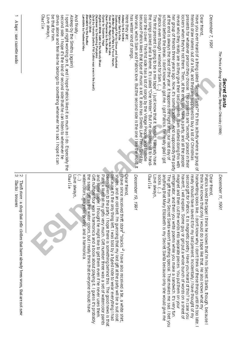 Reading Comprehension Secret Santa  Esl Worksheetdejblandine For Secret Santa Worksheet