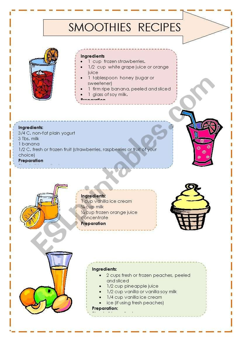 Reading Comprehension  Smoothies´ Recipes 22  Esl Worksheetcassy As Well As Reading A Recipe Worksheet
